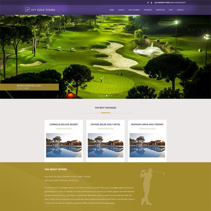 SPY Golf Tours web sitesi