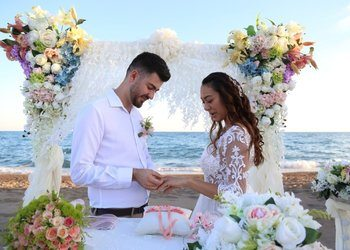marriage ceremony on beach in turkey