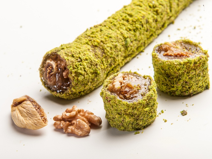 Pistachio Coated Wrapped Delight with Fig Walnut