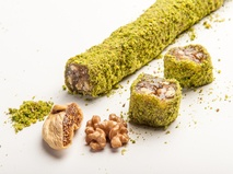Ribbon Delight with Pistachio Coated Fig Walnut