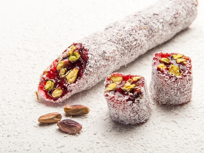 Ribbon Delight with Coconut, Pomegranate & Pistachio