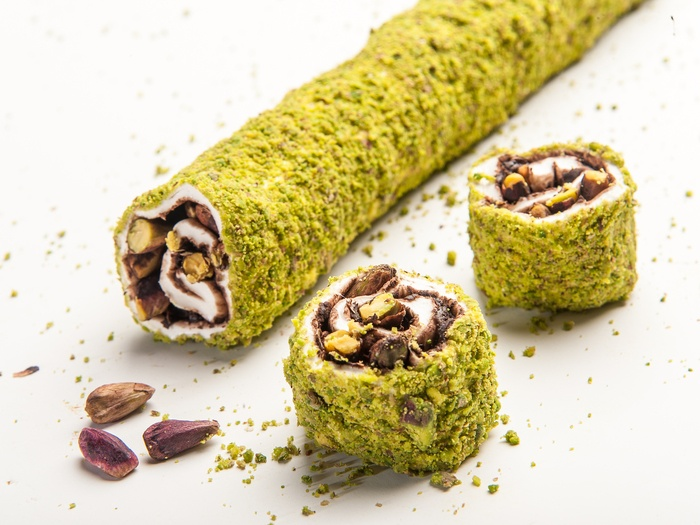 Wrapped Delight with Powdered Antep Pistachio Coated Chocolate